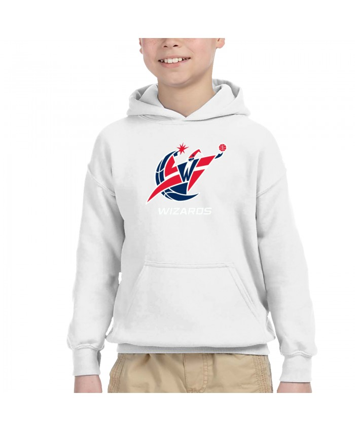 Gilbert Arenas And John Wall Children's Hooded Pocket Sweater Washington Wizards WAS White